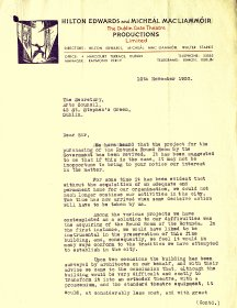 Letter from Hilton Edwards, of Hilton Edwards and Micheál MacLiammóir productions, to the Secretary of the Arts Council (page 1 of 3)