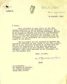 Letter from the Department of the Taoiseach to the Arts Council