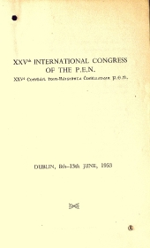 Cover of the programme for the XXV International Congress of the PEN