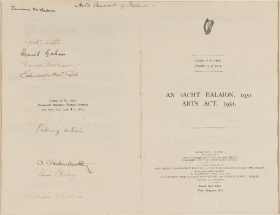 A copy of the first Arts Act,1951 signed by members of the Arts Council, the Taoiseach, Éamon de Valera, and Leader of the Opposition, John A Costello.