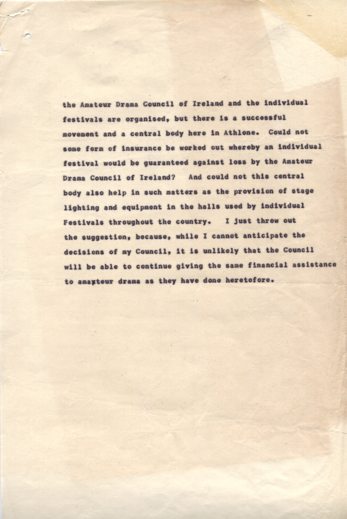 Draft of speech given by Mervyn Wall, Secretary of the Arts Council at ...