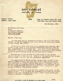 Letter from An Tóstal to William O'Sullivan, Secretary of the Arts Council. (Page 1 of 2)