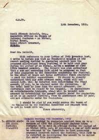 Letter to Cecil Ffrench Salkeld of An Tóstal from William O'Sullivan, Secretary of the Arts Council. (Page 1 of 2)