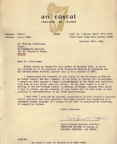 Letter from Cecil Ffrench Salkeld, An Tóstal to William O'Sullivan, Secretary of the Arts Council.