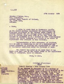 Letter to Brendan O'Brien from William O'Sullivan, Secretary of the Arts Council, including minute of Council meeting of 26 January 1954.