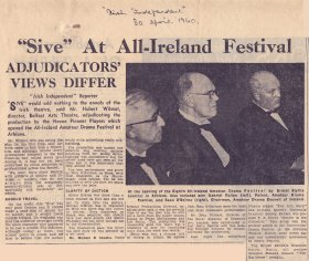 Irish Independent article, 'Sive' at All-Ireland Festival'.[Article reproduced courtesy of the Irish Independent]