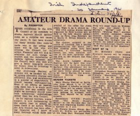 Irish Independent article, 'Amateur Drama Round up'. [Article reproduced courtesy of the Irish Independent]