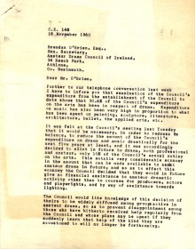 Letter to Brendan O'Brien, Amateur Drama Council of Ireland, from Mervyn Wall, Secretary of the Arts Council (Page 1 of 2)