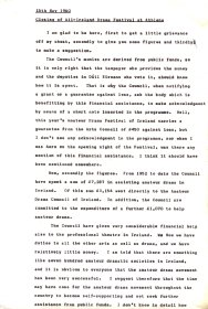 Draft of speech given by Mervyn Wall, Secretary of the Arts Council, at the closing of the All Ireland Drama Festival at Athlone (Page 1 of 2)