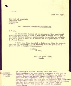 Letter from Secretary of the Arts Council, William O'Sullivan, to the Earl of Longford,