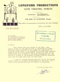 Letter from the Earl of Longford, Longford Productions, to Arts Council