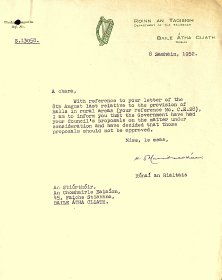 Letter from Department of an Taoiseach to the Arts Council