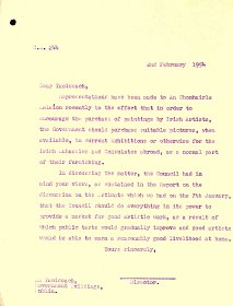 Copy of a letter from the P.J. Little, Director, Arts Council to the Taoiseach