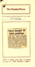 Press cutting - The Sunday Press - 'Have bought 18 paintings'