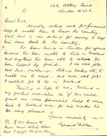 Letter (handwritten) from Gerard Dillon to the Arts Council