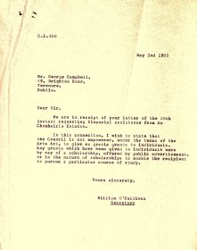 Letter from the Arts Council to George Campbell