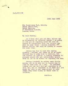 Letter from the Arts Council to His Excellency F.H. Boland, Irish Ambassador, London (page 1 of 2)