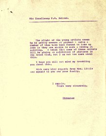 Letter from the Arts Council to His Excellency F.H. Boland, Irish Ambassador, London (page 2)