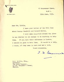 Letter from His Excellency F.H. Boland, Irish Ambassador, London to the Arts Council
