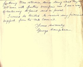 Letter (handwritten) from George Campbell to the Arts Council (page 2)