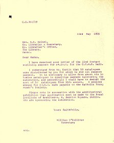 Letter from Arts Council to Meath Librarian M.K. McGurl