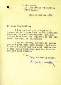 Letter to the Arts Council from Council Member A Chester Beatty