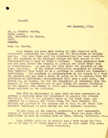 Letter from Arts Council Director, P.J. Little to A Chester Beatty