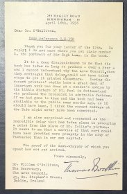 Letter from Dr Thomas Bodkin to Dr William O'Sullivan, Secretary, Arts Council