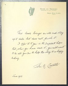 Copy of handwritten insert by the Taoiseach John A. Costello for the third edition of 'Hugh Lane and his pictures'