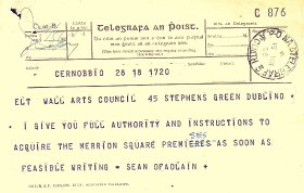Telegram from Seán Ó Faoláin, Arts Council Director to the Arts Council (page 1 of 2)
