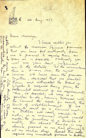 Letter (handwritten) from Seán Ó Faoláin, Arts Council Director to the Arts Council
