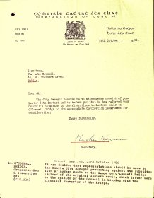 Letter from Dublin Corporation to Arts Council