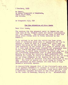 Letter from Seán Ó Faoláin, Arts Council to Thekla Beere, Department of Industry and Commerce (page 1 of 2)