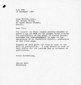 Letter from Mervyn Wall, Secretary of the Arts Council to Liam Miller of the Dolmen Press