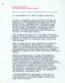 Description by Liam Miller of the project entitled 'The Development of an Irish Alphabet 1953-1961'. (Page 1 of 2)