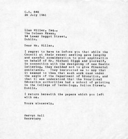 Letter from Mervyn Wall, Secretary to the Arts Council to Liam Miller of the Dolmen Press
