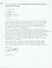 Letter from Liam Miller of the Dolmen Press to Mervyn Wall, Secretary to the Arts Council.