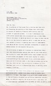 Draft letter from Mervyn Wall to Christopher Rye of the Calouste Gulbenkian Foundation. (Page 1 of 3)