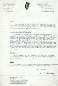 Letter from the Secretary of the Department of Finance to Mervyn Wall, Secretary of the Arts Council.