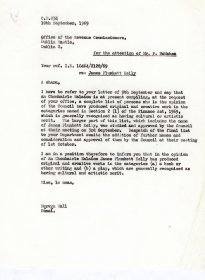 Letter from Mervyn Wall, Secretary to the Arts Council to  P. McMahon, Office of the Revenue Commissioners