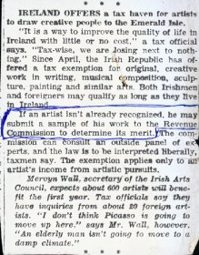 Short article about Ireland as a tax haven for artists following establishment of tax exemption for artists.