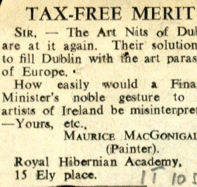 Letter by Maurice MacGonigal to the editor of the Irish Times