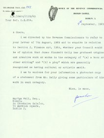 Letter from P. McMahon, Office of the Revenue Commissioners to Mervyn Wall, Secretary to the Arts Council.