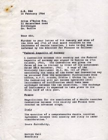 Letter from Mervyn Wall, Secretary of the Arts Council to Brian O'Nolan.