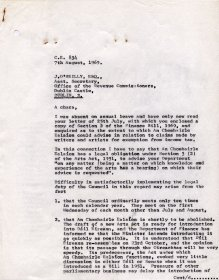 Letter from Mervyn Wall, Secretary to the Arts Council, to J. O'Reilly, Assistant Secretary, Office of the Revenue Commissioners. (Page 1 of 3)