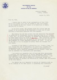 Letter from Edward R. O'Connor, Second Secretary, American Embassy to Mervyn Wall, Secretary to the Arts Council. (Page 1 of 2)