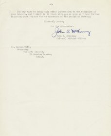 Letter from John A. McKinney, American Embassy to Mervyn Wall, Secretary of the Arts Council. (Page 2)