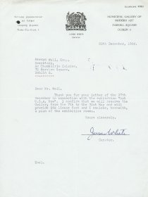 Letter from James White, Municipal Gallery of Modern Art to Mervyn Wall, Secretary of the Arts Council. [Letter reproduced courtesy of the Dublin City Gallery The Hugh Lane]