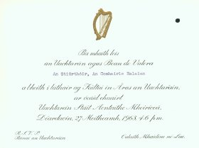 Invitation from the President and Mrs de Valera to the Director of the Arts Council. (Side 1 of 2)