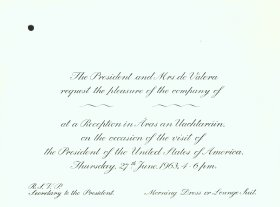 Invitation from the President and Mrs de Valera to the Director of the Arts Council. (Side 2).